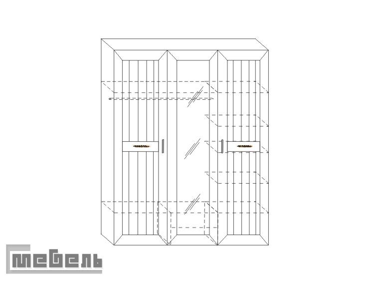 """Шкаф для платья и белья (3-дв.) ИД 01.57, спальня """"Соната"""""""