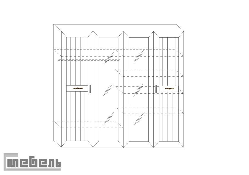 """Шкаф для белья и платья (4-дв.) Соната ИД 01.119, спальня """"Сонат"""