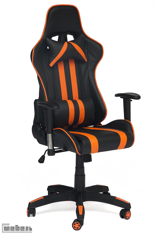 """Компьютерное кресло """"Икар"""" (Ikar) Кожзам чёрный/оранжевый"""