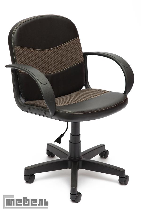 """Компьютерное кресло """"Багги"""" (Baggi) Кожзам, """"Чёрный""""/Ткань, """"Бежевая"""""""