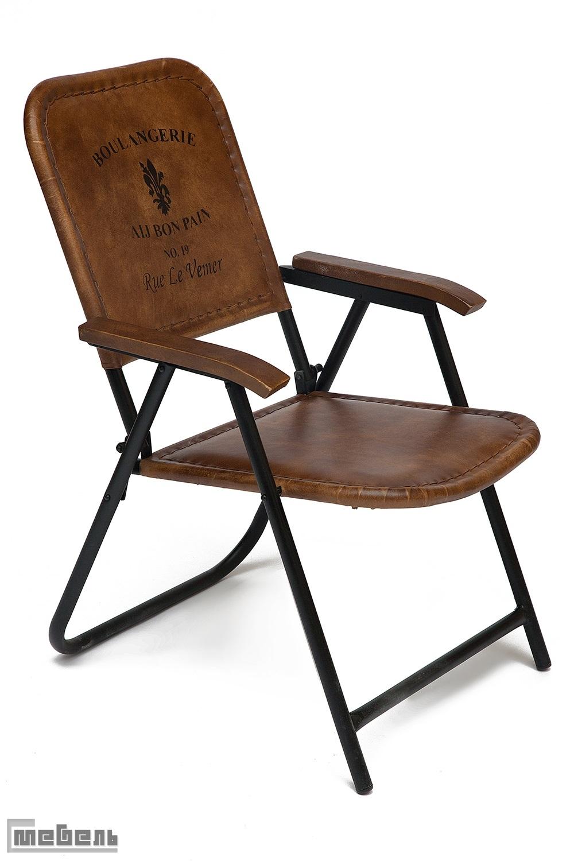 """Кресло складное """"Такома (Takoma) 2111"""" из натуральной кожи буйвола (Античный светло-коричневый)"""