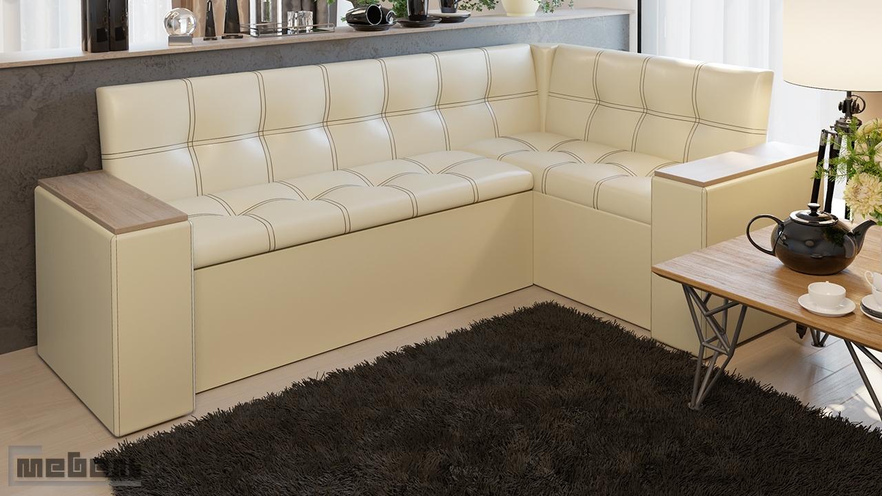 """Кухонный угловой диван """"Остин"""" со спальным местом (Дуб Сонома трюфель/Кожзам светлый)"""