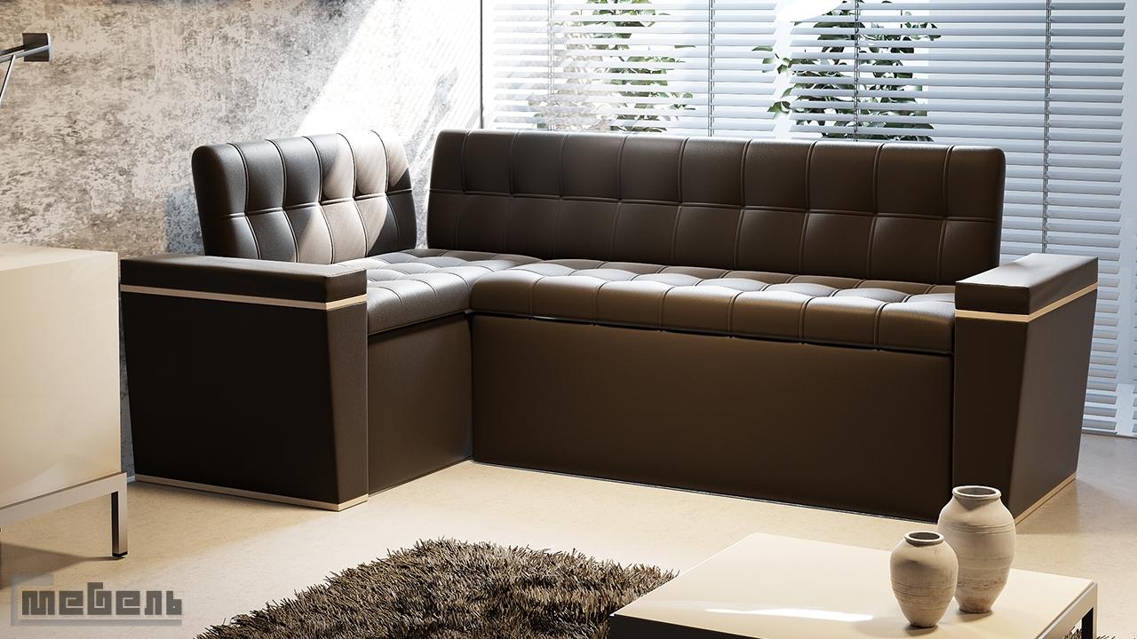 """Кухонный угловой диван """"Брайтон"""" со спальным местом (Дуб белфорт/Экокожа коричневая)"""