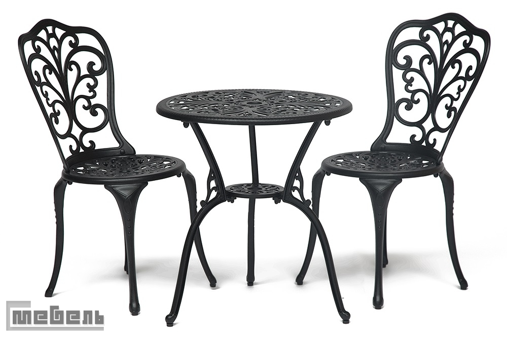 """Обеденная группа """"Романс"""" (стол + 2 стула """"Моцарт"""") цвет: Чёрный"""