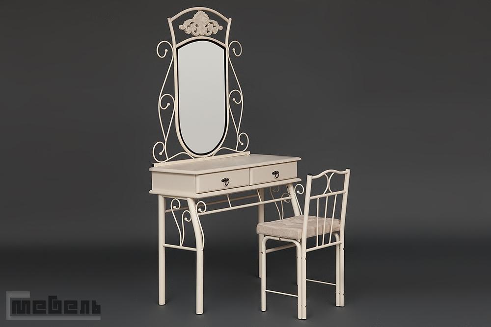 """Туалетный стол """"Канцона"""" (Canzona) со стулом Белый (Слоновая кость)"""
