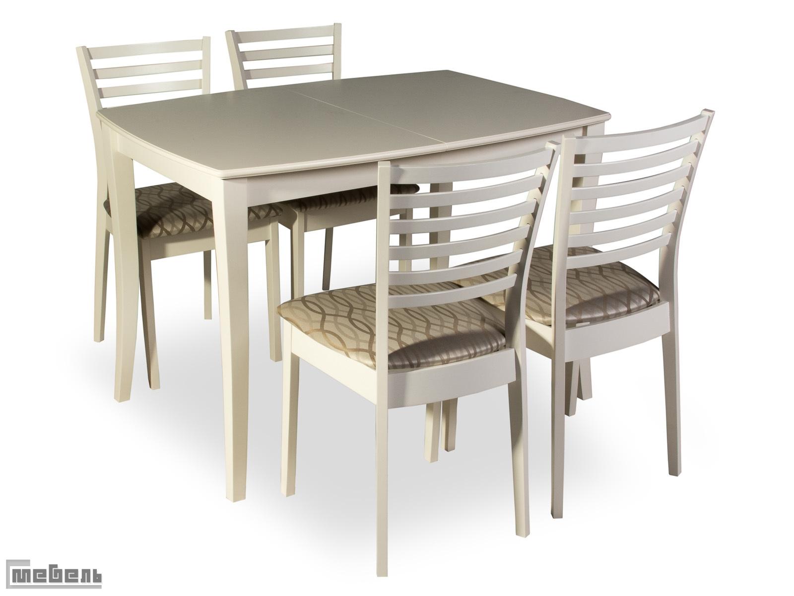"Обеденная группа ""RA-T4EX"" (стол + 4 стула ""RA-SC"")  Butter White (Белый)"