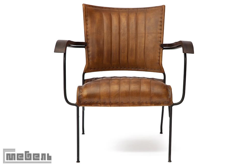 """Кресло """"2106"""" из натуральной кожи буйвола (цвет: Античный светлый)"""