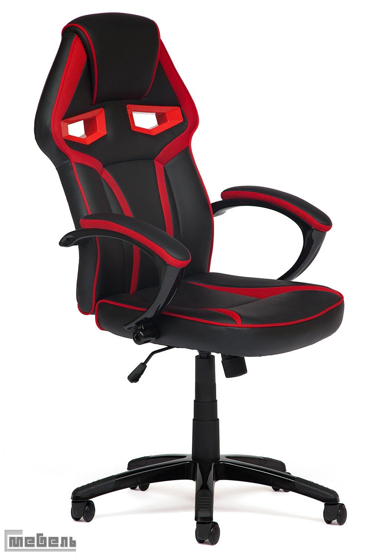 """Компьютерное кресло """"JetCar"""" Кожзам чёрный/красная сетка"""