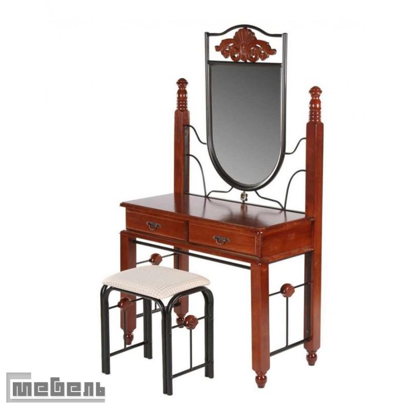 """Туалетный столик с зеркалом и пуфом """"ДТ-23"""" (Красный дуб)"""