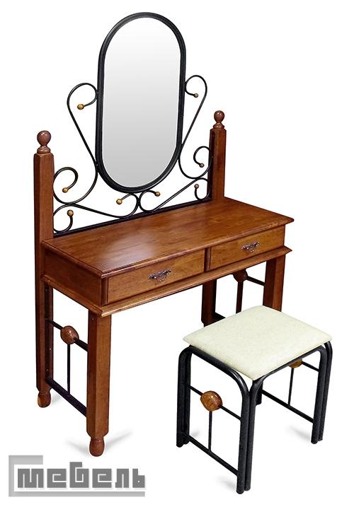 """Туалетный столик с зеркалом и пуфом """"АТ-992"""" (Красный дуб)"""