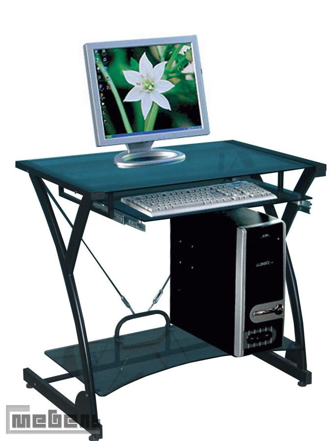 "Компьютерный стол ""DARK WADER WRX - 01"" (стекло чёрное, каркас чёрный)"