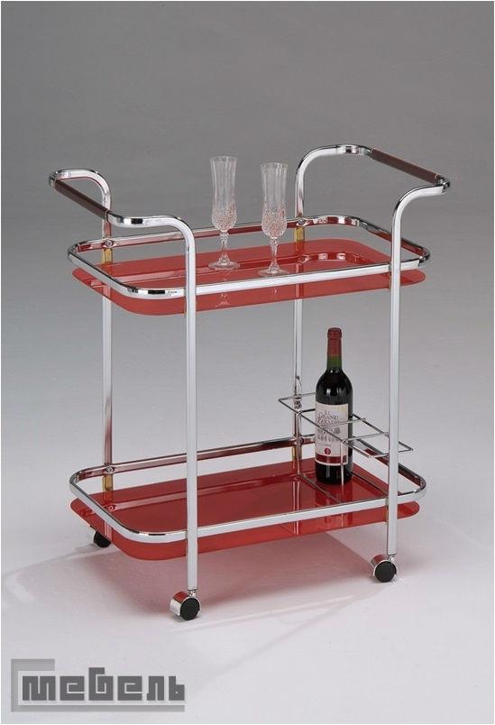 """Сервировочный столик на колесиках """"SC 5096"""" (Красное стекло)"""