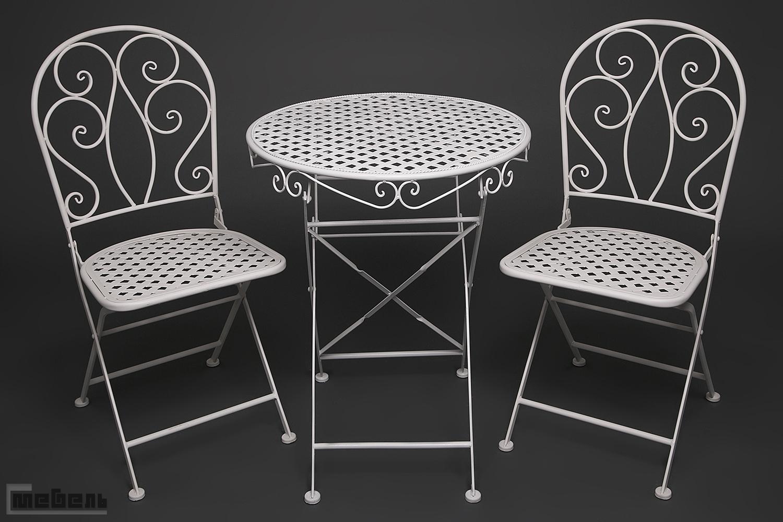 """Обеденная группа """"Патио - Мадлен"""" (стол + 2 стула) Белая"""
