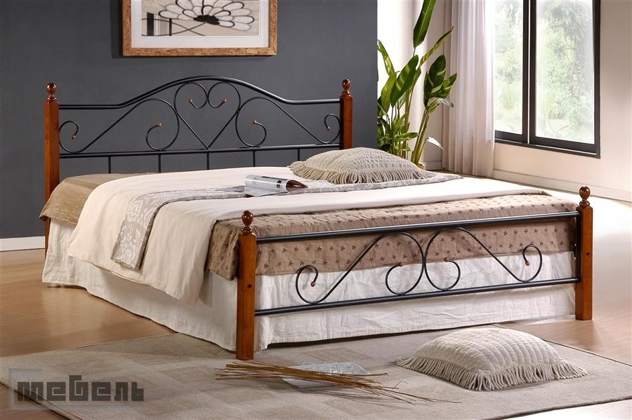 """Кровать двуспальная """"8151-АТ"""" (1400 х 2000 мм.) Тёмный орех"""