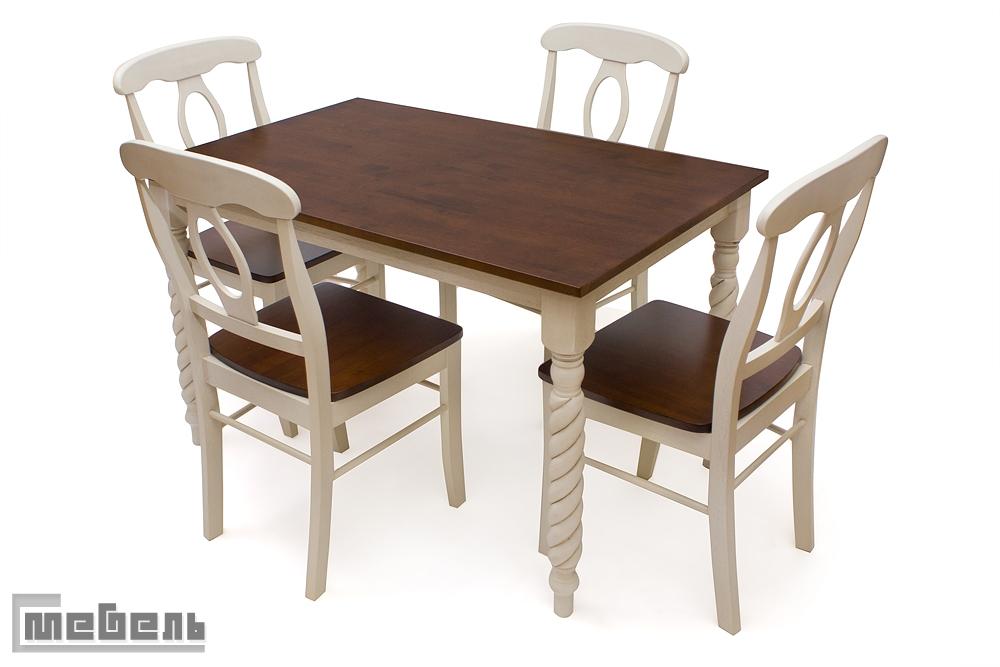 """Обеденная группа """"Наполеон"""" (стол + 4 стула """"Наполеон"""") Античный белый / тёмный дуб"""