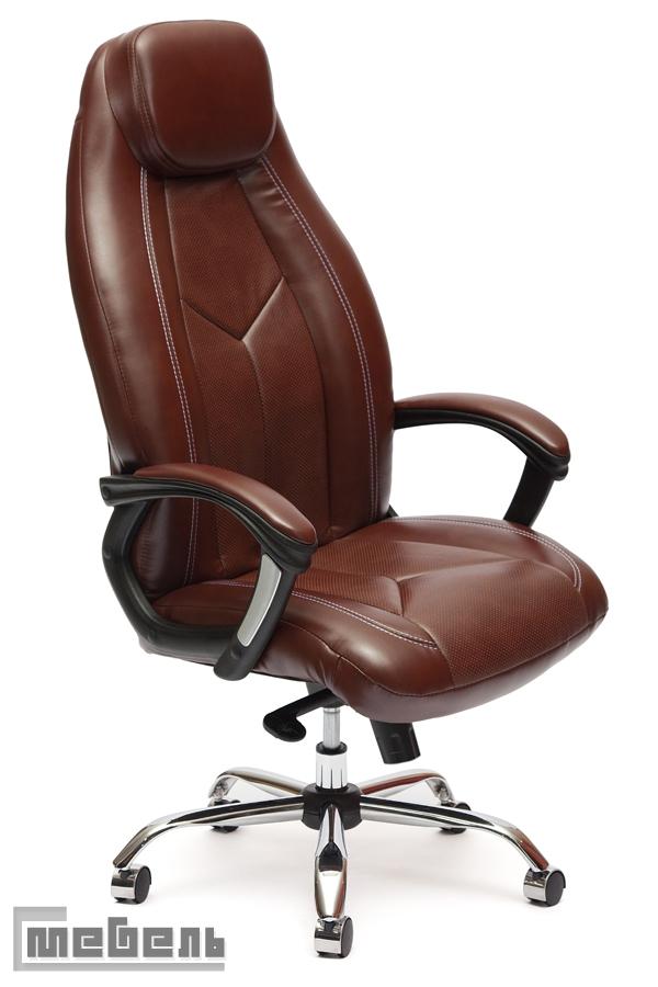 """Кресло для руководителя """"Босс Люкс"""" (Boss) Кожзам коричневый"""