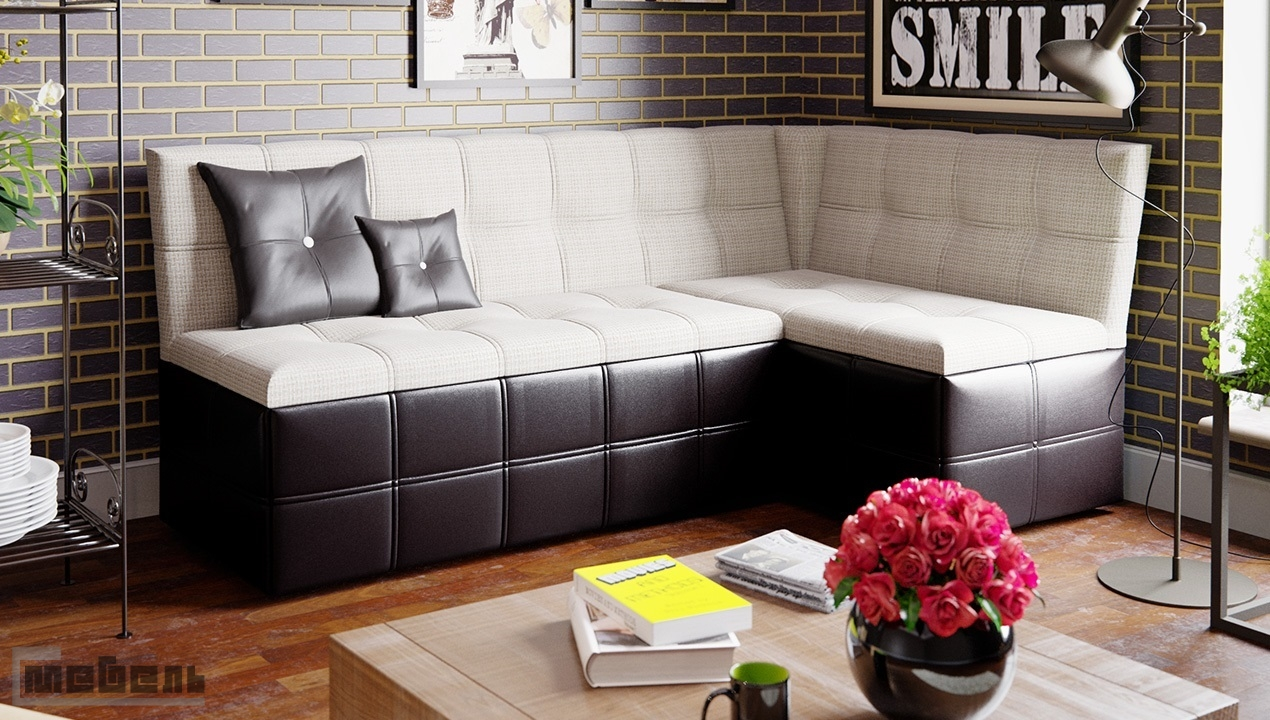 """Кухонный угловой диван """"Домино"""" со спальным местом (Кожзам темный/ткань светлая)"""