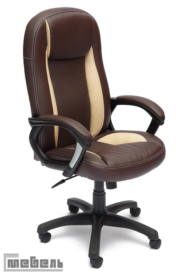 """Кресло для руководителя """"Бриндиси СТ"""" (BRINDISI ST) Кожзам бежево-коричневый"""
