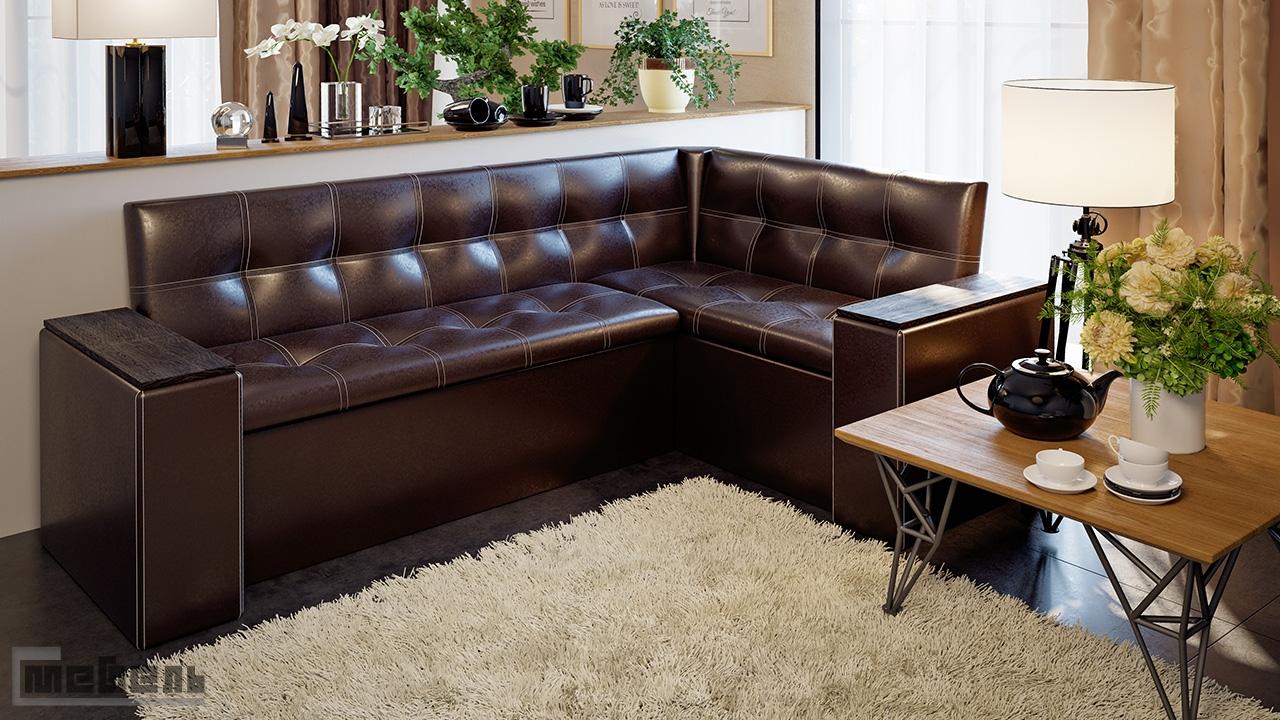 """Кухонный угловой диван """"Остин"""" со спальным местом (Венге цаво/Кожзам коричневый)"""