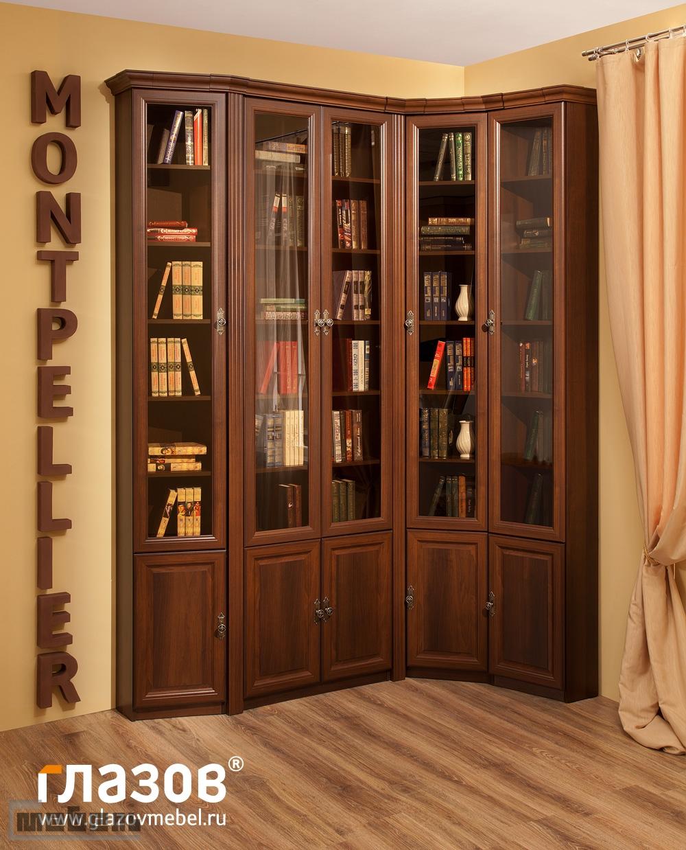 """Библиотека """"Montpellier"""" (Монпелье) модульная - Комплектация № 3 (Орех Шоколадный)"""