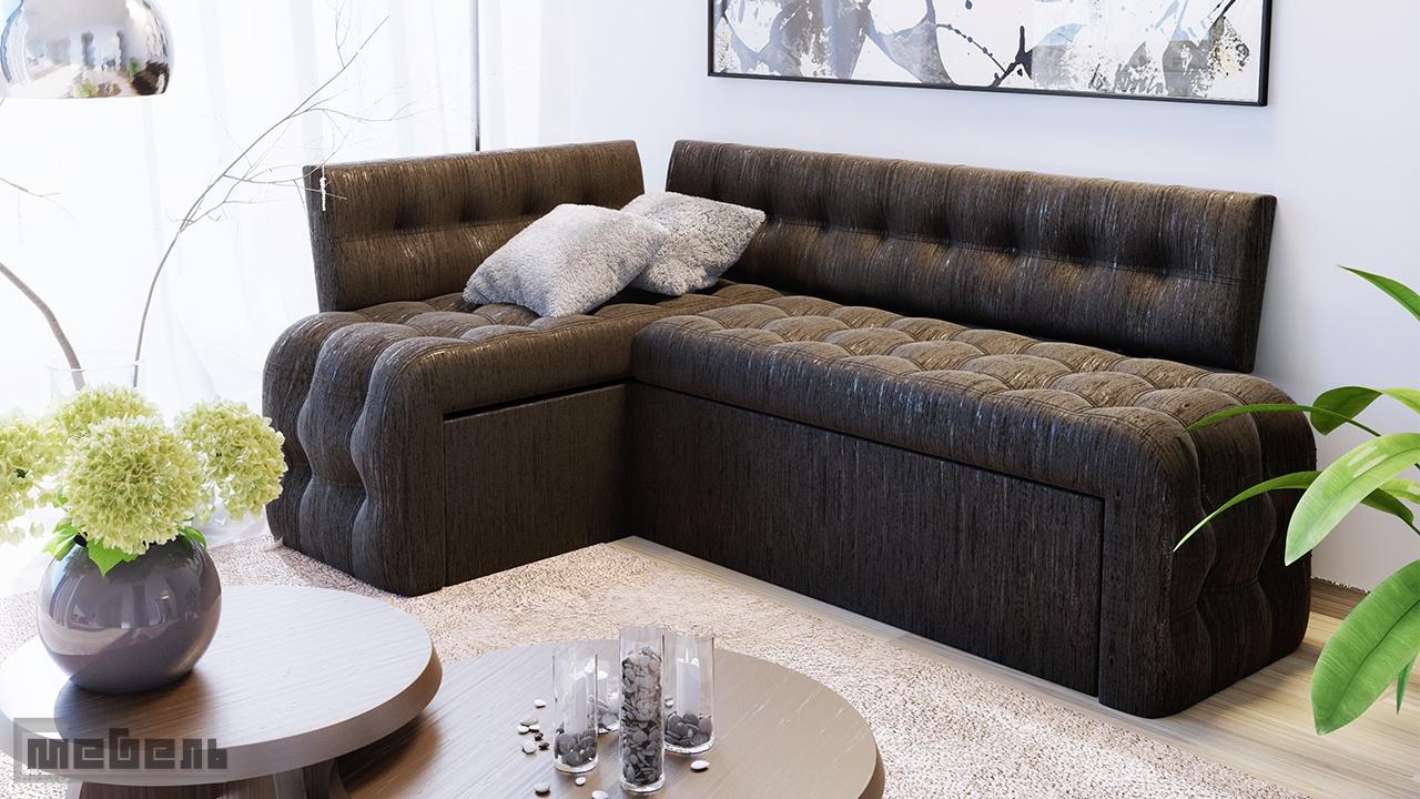 """Кухонный угловой диван """"Манчестер"""" со спальным местом (Венге Цаво/Кожзам коричневый)"""