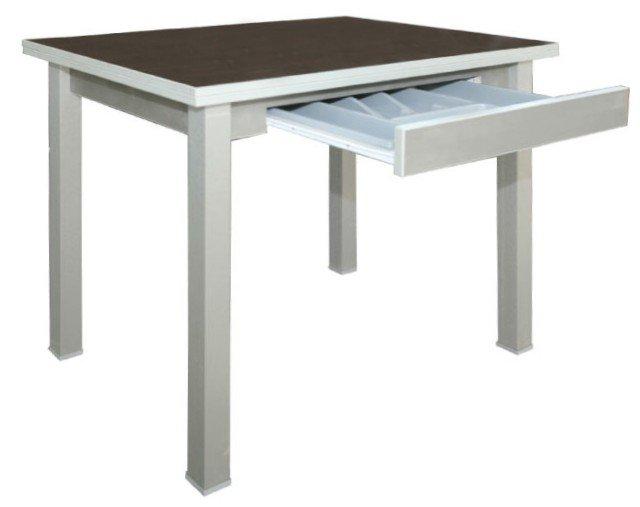 Стол обеденный раскладной (прямая нога) с ящиком-лотком