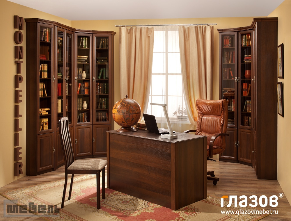 """Библиотека """"Montpellier"""" (Монпелье) модульная - Комплектация № 2 (Орех Шоколадный)"""