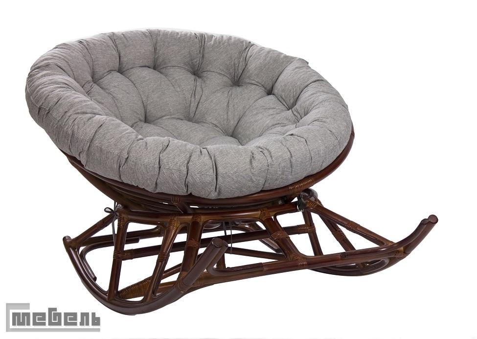 """Кресло-качалка """"Papasan Rocker Chair"""" с подушкой на полозьях (Коньяк)"""