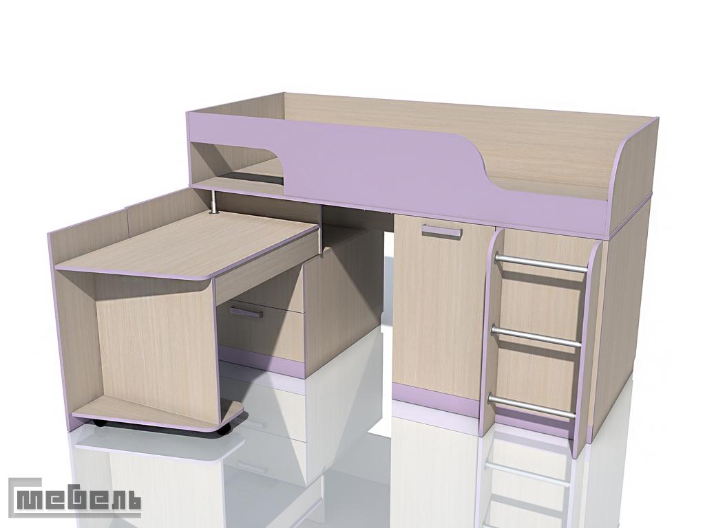 """Двухъярусная кровать с поворотным столом НМ 011.55М """"Рико"""" ЛДСП Модерн"""