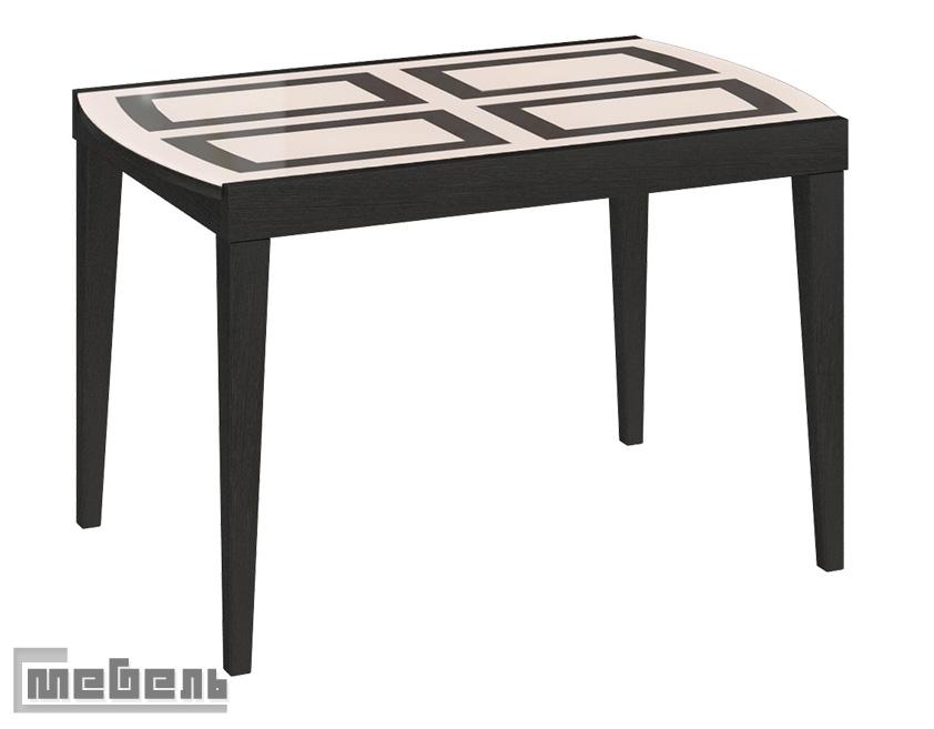 """Стол обеденный """"Танго Т2"""" С-362 Венге - стекло матовое с рисунком"""