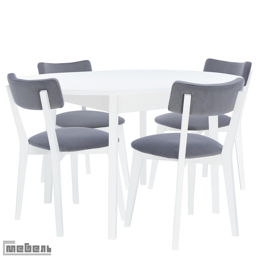 """Обеденная группа """"Говард"""" (стол + 4 стула """"Чейз"""") Белый"""