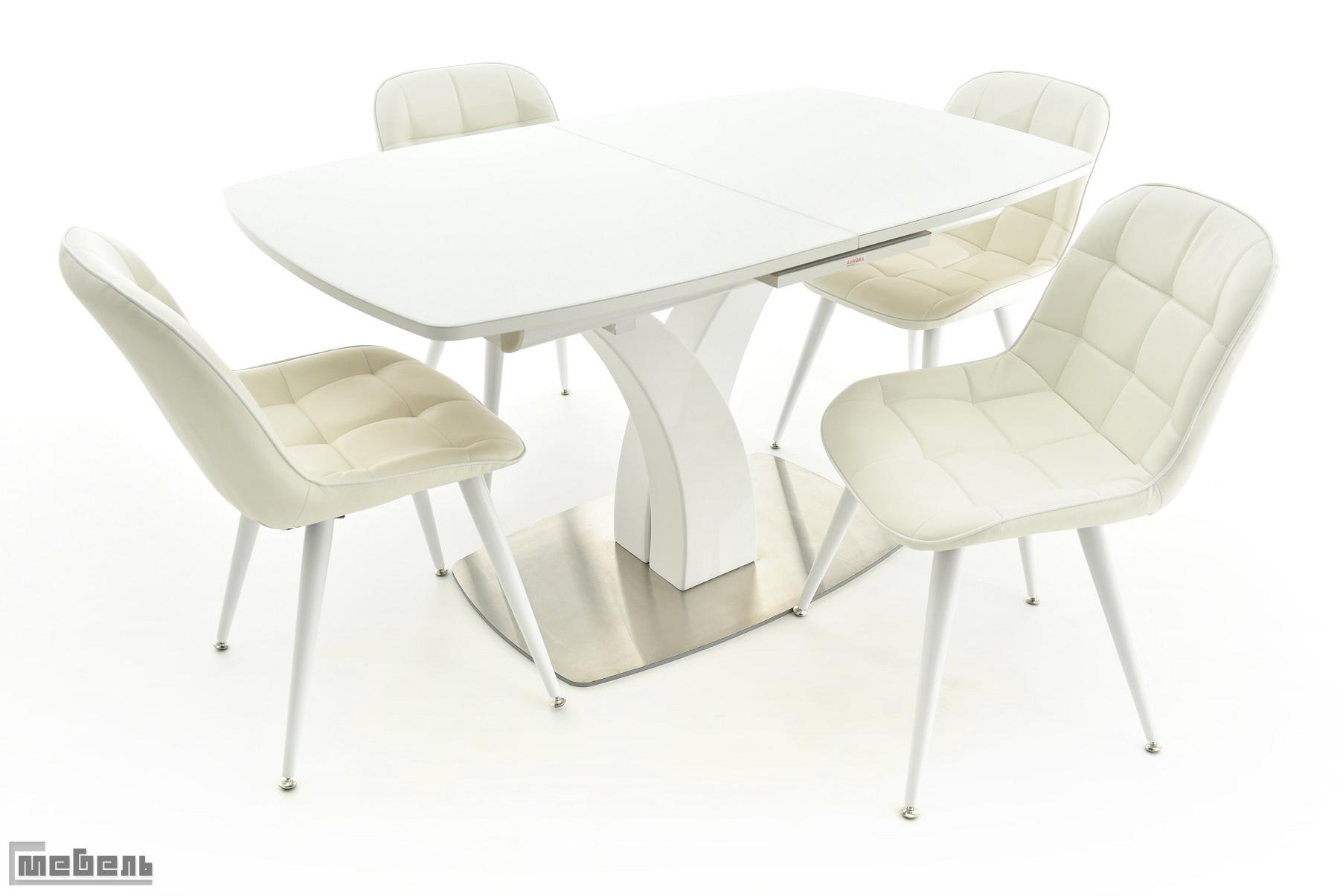 """Обеденная группа """"Нотр-Дам"""" (стол + 4 стула """"Прованс"""" белый) Белый (стекло)"""
