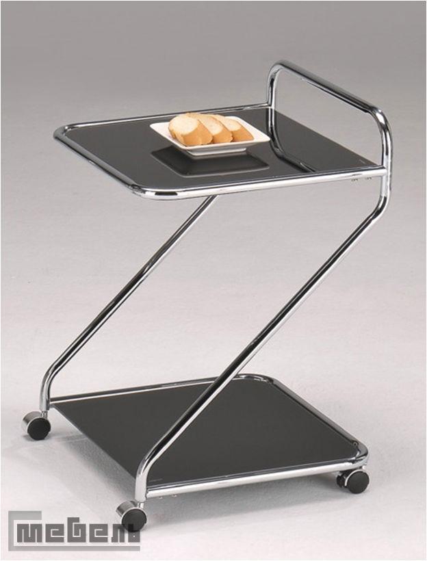 """Сервировочный столик на колёсиках """"SC 5103-BK"""" (Чёрное стекло)"""