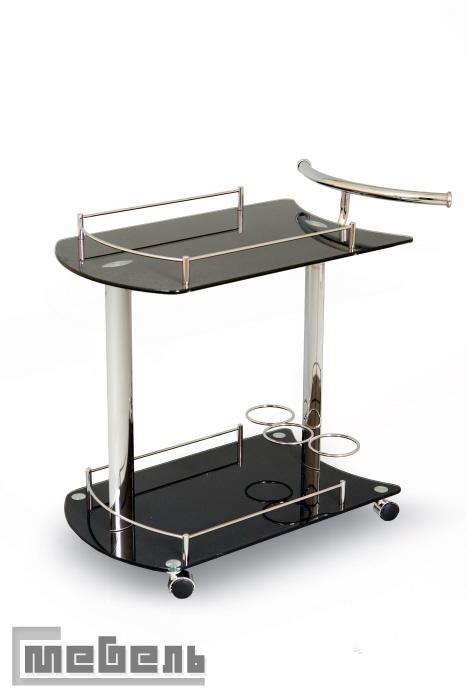 """Сервировочный столик на колёсиках """"SC 5066-BG"""" (Чёрный,стекло)"""