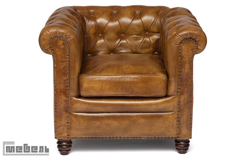 """Кресло """"1157B"""" из натуральной кожи буйвола (цвет: Античный светлый)"""