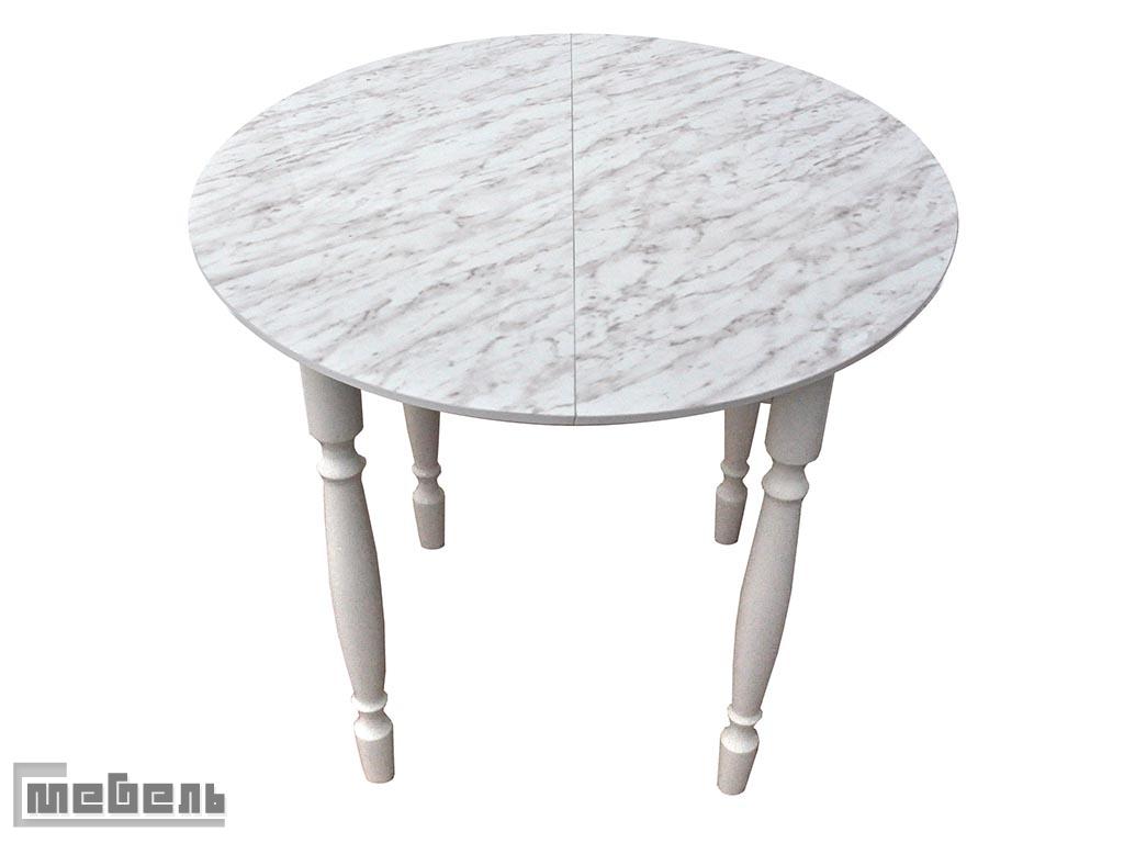 Стол обеденный раздвижной круглый (Столешница Мрамор/ ноги Белые точёные)