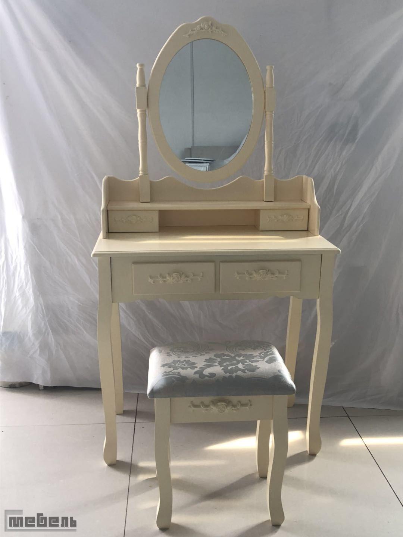 """Туалетный стол с пуфом """"Арно"""" (Arno) """"HX18-263"""" (butter white (слоновая кость))"""