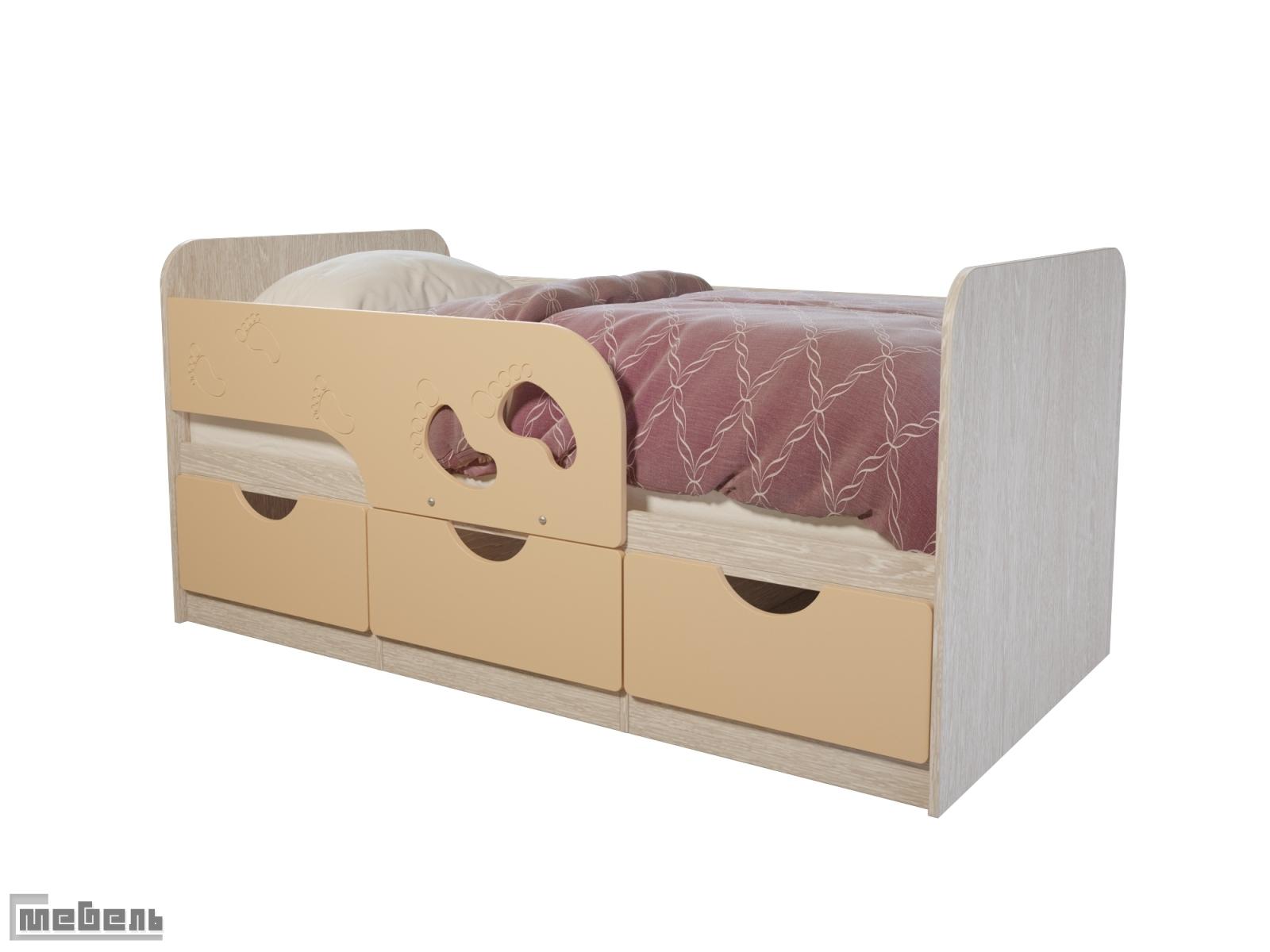 """Детская односпальная кровать """"Минима Лего"""" крем-брюле"""