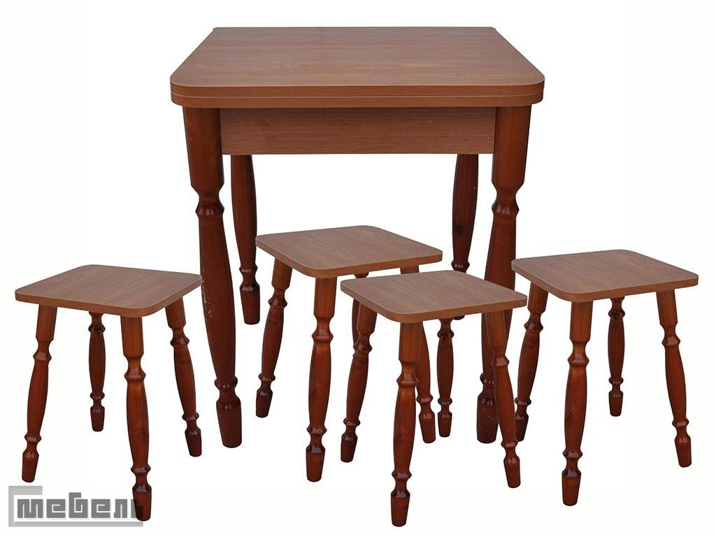 Обеденная группа (стол прямоугольный раскладной (600 х 600 мм.) + 4 табурета Ольха пластик)