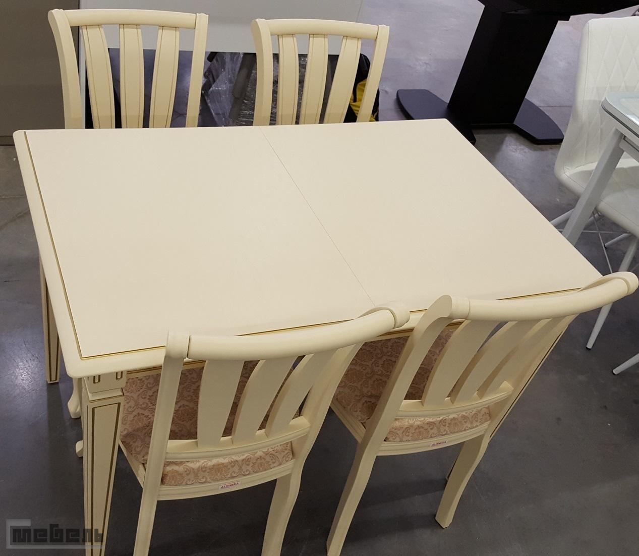 """Обеденная группа """"Сиена 1100"""" (стол + 4 стула """"Кабриоль"""" с жёсткой спинкой) Слоновая кость"""