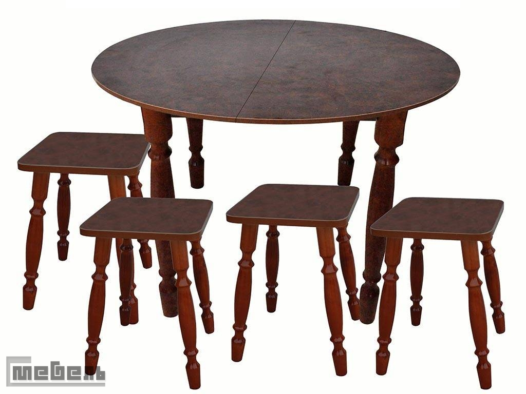 Обеденная группа (стол круглый раздвижной + 4 табурета Корень вяза пластик)
