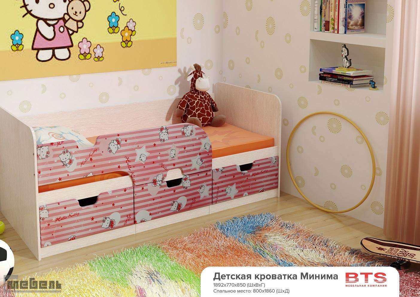 """Детская односпальная кровать """"Минима"""" Pink (Хеллоу Китти)"""
