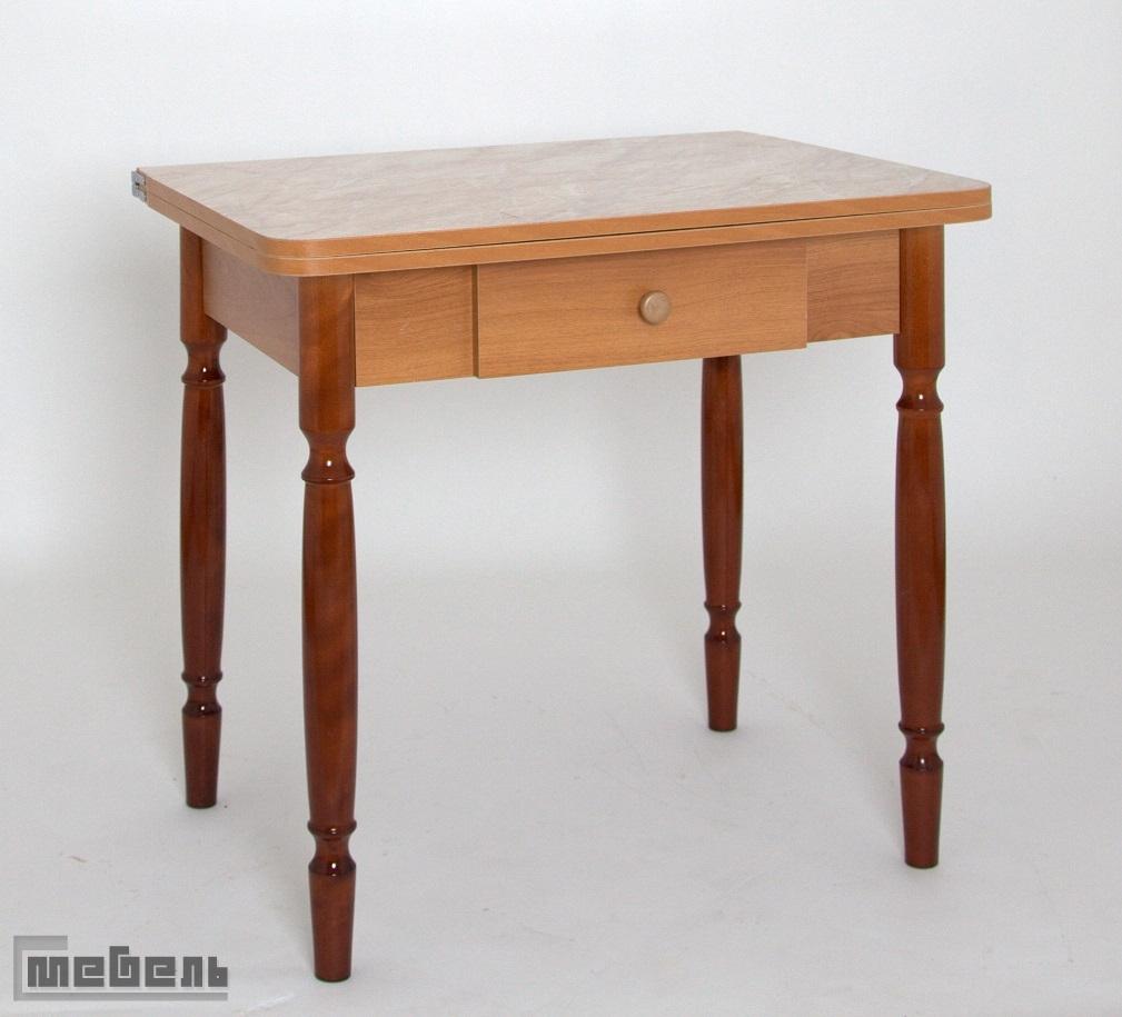 Стол обеденный раскладной ЛС-831 с ящиком (Мрамор Беж. 5402 (2441)/ноги Орех точёные)