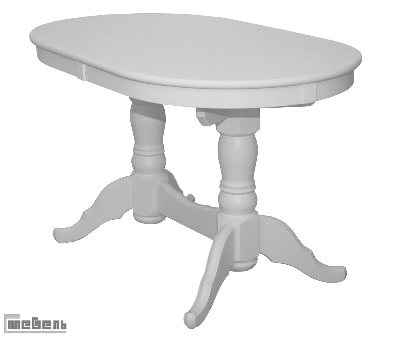 Стол обеденный раздвижной Презент (Белый/массив березы, Шпон)