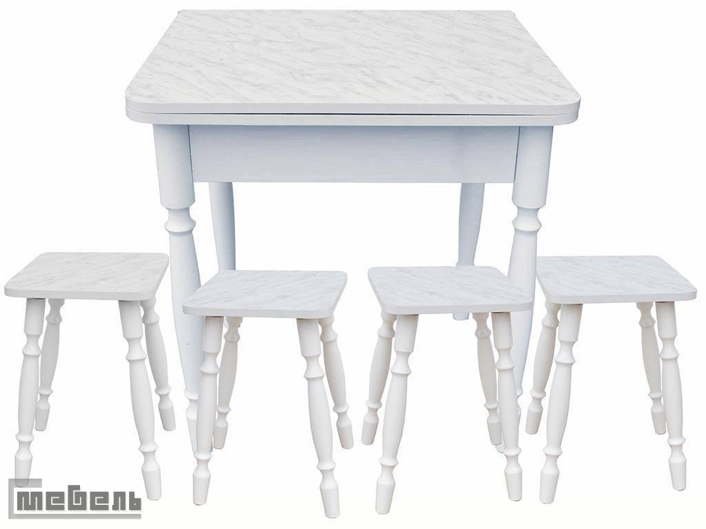 Обеденная группа (стол прямоугольный раскладной (600 х 600 мм.) + 4 табурета Мрамор пластик)