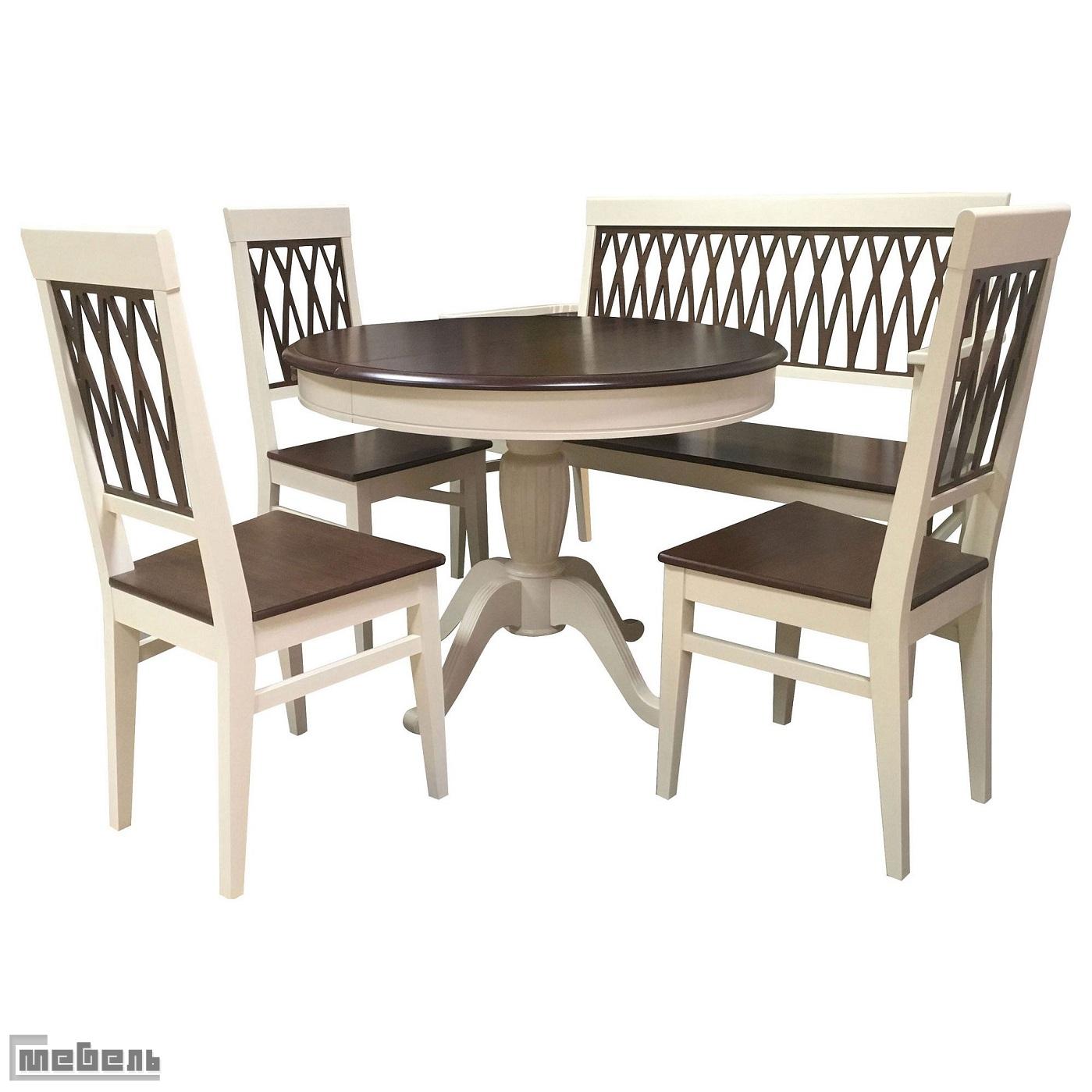 """Обеденная группа """"Леонардо"""" (стол + 4 стула """"Кристиан"""") Орех тёмный/Слоновая кость"""