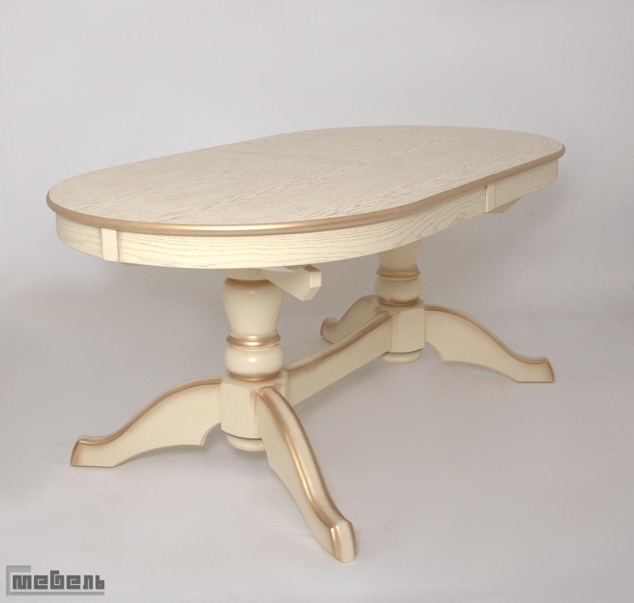 Стол обеденный раздвижной Макси (Слоновая кость + сусальное золото/массив березы, Шпон)