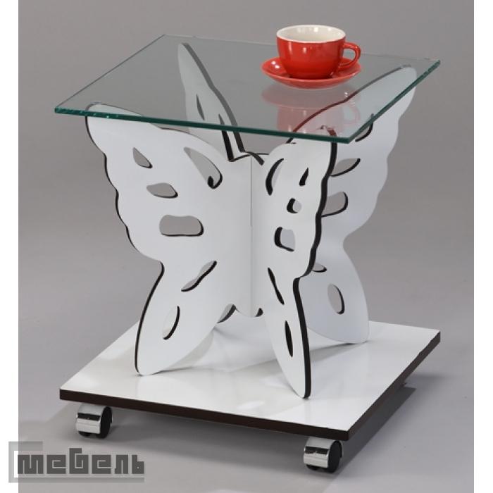 "Кофейный столик ""SR-1122-WT"" Бабочка (Белый)"