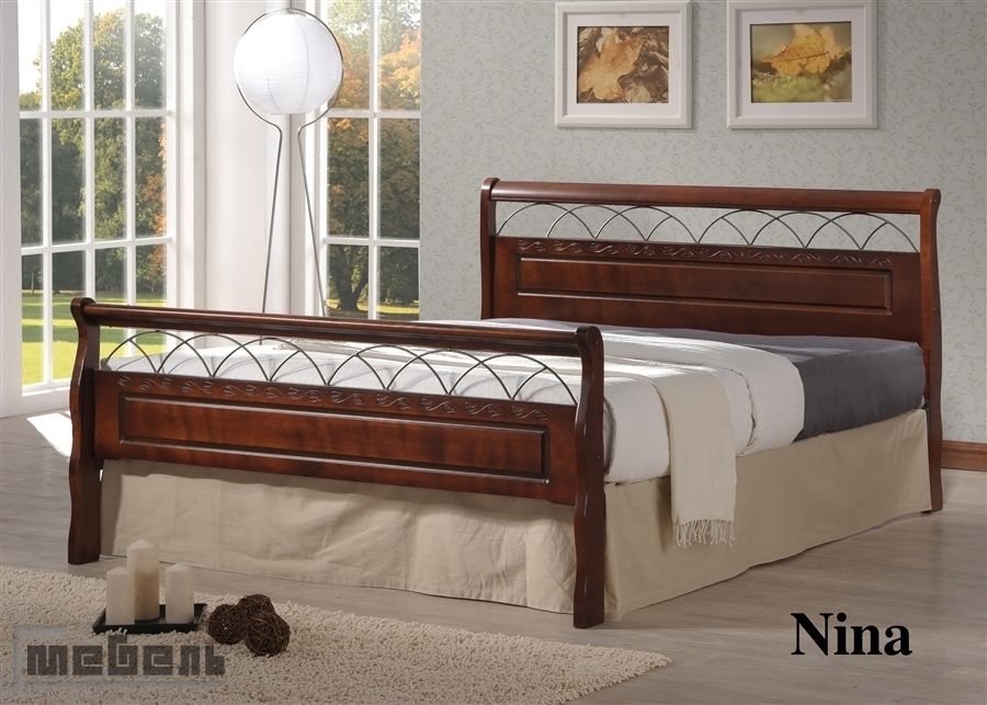 """Кровать двуспальная """"Нина"""" (1400 х 2000 мм.) Тёмный орех"""