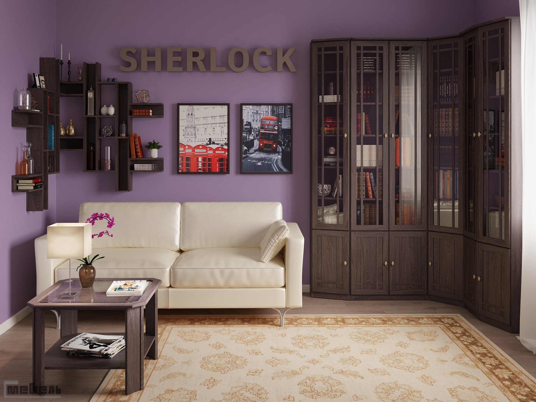 """Библиотека """"Sherlock"""" (Шерлок) в цвете (Ясень Анкор тёмный) модульная - Комплектация № 1"""